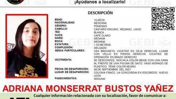 Desaparece joven de 15 años en Escobedo