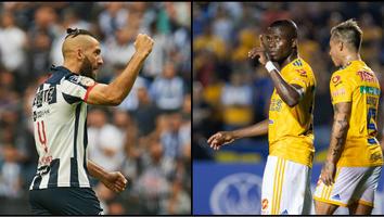Nicolás Sánchez, Enner Valencia y Eduardo Vargas celebrando un gol