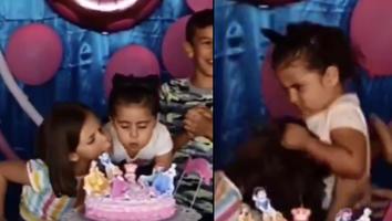 niñas se pelean en cumpleaños