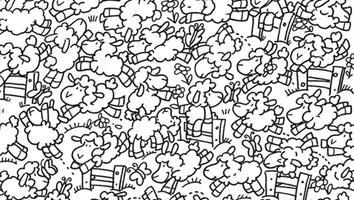 Nuevo reto visual: encuentra al pollito oculto entre las ovejas